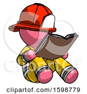 Poster, Art Print Of Pink Firefighter Fireman Man Reading Book While Sitting Down