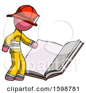 Poster, Art Print Of Pink Firefighter Fireman Man Reading Big Book While Standing Beside It