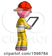 Pink Firefighter Fireman Man Looking At Tablet Device Computer Facing Away