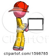 Pink Firefighter Fireman Man Show Tablet Device Computer To Viewer Blank Area
