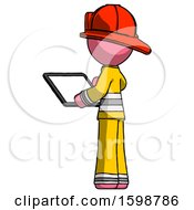 Pink Firefighter Fireman Man Looking At Tablet Device Computer With Back To Viewer