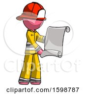 Pink Firefighter Fireman Man Holding Blueprints Or Scroll