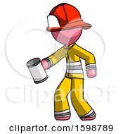 Pink Firefighter Fireman Man Begger Holding Can Begging Or Asking For Charity Facing Left