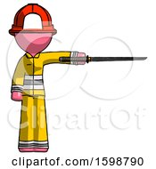 Pink Firefighter Fireman Man Standing With Ninja Sword Katana Pointing Right