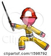 Pink Firefighter Fireman Man With Ninja Sword Katana In Defense Pose
