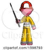 Pink Firefighter Fireman Man Standing Up With Ninja Sword Katana