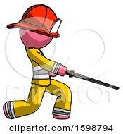Pink Firefighter Fireman Man With Ninja Sword Katana Slicing Or Striking Something