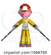 Pink Firefighter Fireman Man Posing With Two Ninja Sword Katanas