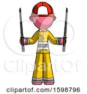 Pink Firefighter Fireman Man Posing With Two Ninja Sword Katanas Up