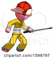 Pink Firefighter Fireman Man Stabbing With Ninja Sword Katana