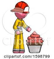Pink Firefighter Fireman Man With Giant Cupcake Dessert