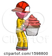 Pink Firefighter Fireman Man Holding Large Cupcake Ready To Eat Or Serve