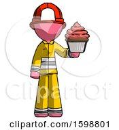 Pink Firefighter Fireman Man Presenting Pink Cupcake To Viewer