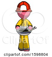 Pink Firefighter Fireman Man Serving Or Presenting Noodles