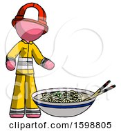 Pink Firefighter Fireman Man And Noodle Bowl Giant Soup Restaraunt Concept