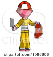 Pink Firefighter Fireman Man Holding Large Steak With Butcher Knife