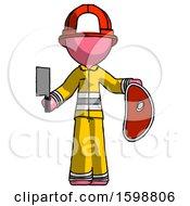 Pink Firefighter Fireman Man Holding Large Steak With Butcher Knife