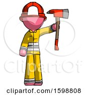 Pink Firefighter Fireman Man Holding Up Red Firefighters Ax
