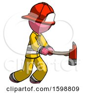Pink Firefighter Fireman Man With Ax Hitting Striking Or Chopping