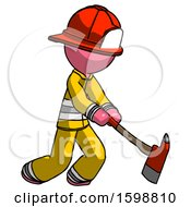 Pink Firefighter Fireman Man Striking With A Red Firefighters Ax