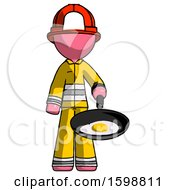 Pink Firefighter Fireman Man Frying Egg In Pan Or Wok