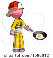 Pink Firefighter Fireman Man Frying Egg In Pan Or Wok Facing Right