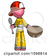 Pink Firefighter Fireman Man With Empty Bowl And Spoon Ready To Make Something