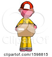 Pink Firefighter Fireman Man Holding Box Sent Or Arriving In Mail