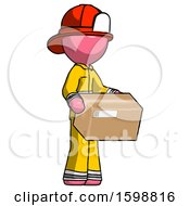 Pink Firefighter Fireman Man Holding Package To Send Or Recieve In Mail