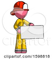 Pink Firefighter Fireman Man Presenting Large Envelope