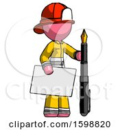 Pink Firefighter Fireman Man Holding Large Envelope And Calligraphy Pen