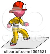 Pink Firefighter Fireman Man On Postage Envelope Surfing