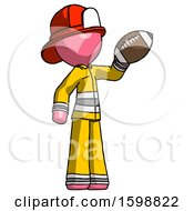 Pink Firefighter Fireman Man Holding Football Up