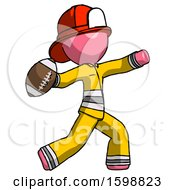 Pink Firefighter Fireman Man Throwing Football