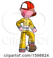Pink Firefighter Fireman Man Standing With Foot On Football