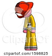 Pink Firefighter Fireman Man Depressed With Head Down Turned Left
