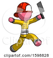 Pink Firefighter Fireman Man Psycho Running With Meat Cleaver