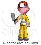 Pink Firefighter Fireman Man Holding Meat Cleaver