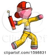 Pink Firefighter Fireman Man Throwing Dynamite