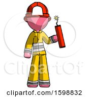 Pink Firefighter Fireman Man Holding Dynamite With Fuse Lit