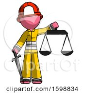 Pink Firefighter Fireman Man Justice Concept With Scales And Sword Justicia Derived