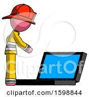Pink Firefighter Fireman Man Using Large Laptop Computer Side Orthographic View