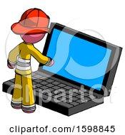 Pink Firefighter Fireman Man Using Large Laptop Computer