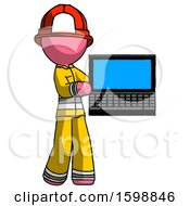 Pink Firefighter Fireman Man Holding Laptop Computer Presenting Something On Screen