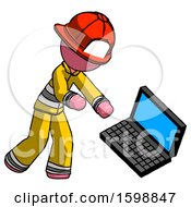 Pink Firefighter Fireman Man Throwing Laptop Computer In Frustration