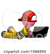 Pink Firefighter Fireman Man Using Laptop Computer While Lying On Floor Side Angled View