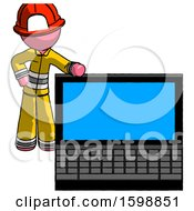 Pink Firefighter Fireman Man Beside Large Laptop Computer Leaning Against It