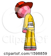 Pink Firefighter Fireman Man Depressed With Head Down Back To Viewer Left