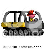 Pink Firefighter Fireman Man Driving Amphibious Tracked Vehicle Side Angle View