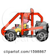 Pink Firefighter Fireman Man Riding Sports Buggy Side View